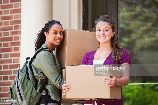 University Students Carrying Boxes, Moving to College Campus Dormitory Apartment