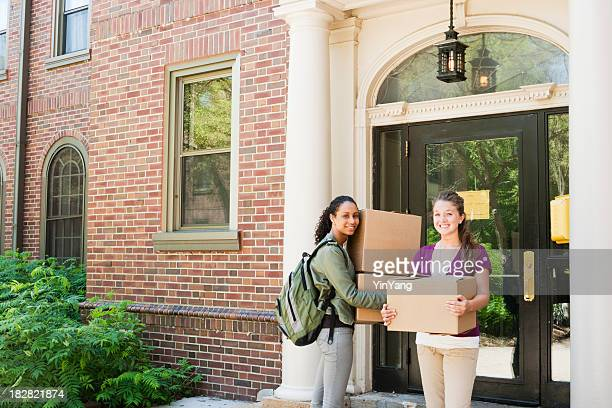 University Students, Friends Moving House Boxes Outside College Dorm Apartment