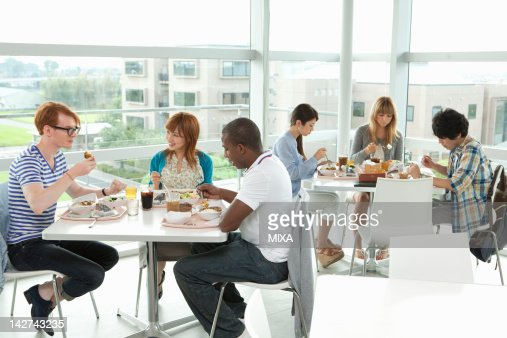 University students having lunch at cafeteria