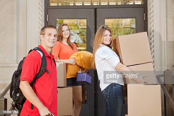 University Students Moving College Dorm Apartment on University Campus