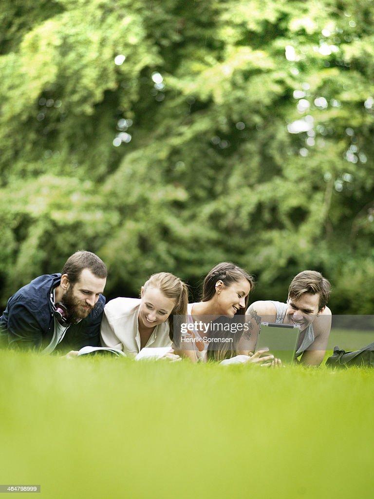 University students on campus : Stock Photo