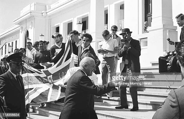University students protesting outside Parliament House in Canberra during the arrival of Sir Robert Menzies Harold Holt and William McMahon on 20...