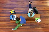 University students studying, from above
