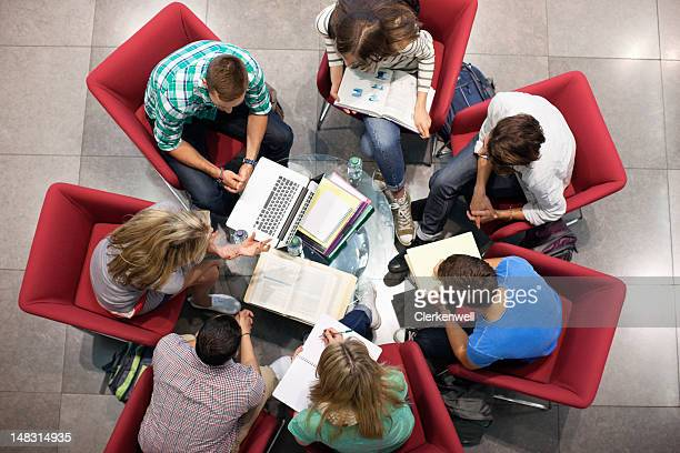 University students studying in a circle