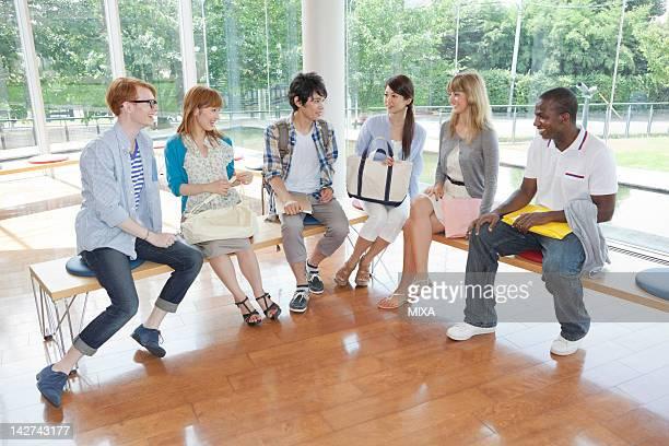 University students talking at campus