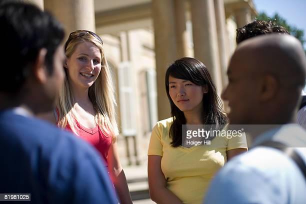 University students talking on campus