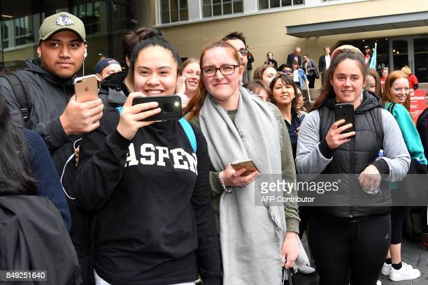 University students wait to hear leader of the Labour Party Jacinda Ardern speak during a visit to Victoria University in Wellington on September 19...