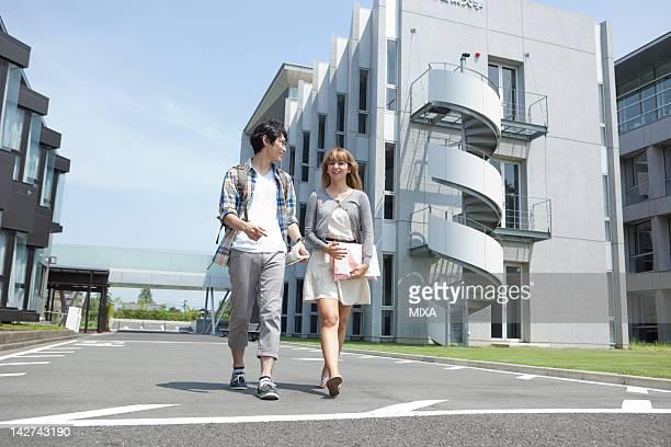 University students walking at campus