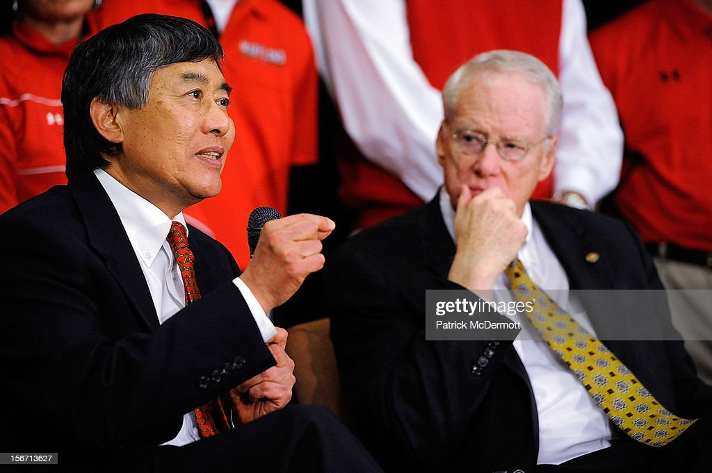 University System of Maryland Chancellor Brit Kirwan looks on as University of Maryland President Wallace D. Loh speaks during a press conference annoucing Maryland's decision to join the Big Ten Conference on November 19, 2012 in College Park, Maryland.