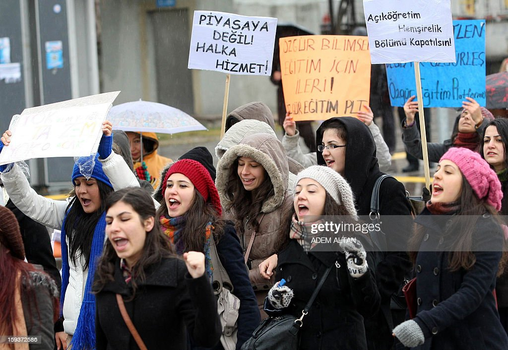 University teachers, academicians, and students demonstrate on January 12, 2013 in Ankara against a government draft law to reform Turkey's Higher Education Board (YÖK). The banner reads in Turkish 'No to the new YOK law.'