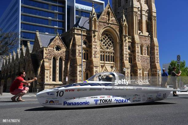 University Tokai Challenger vehicle 'Tokai' from Japan competes during a street parade for the 2017 Bridgestone World Solar Challenge down Wakefield...