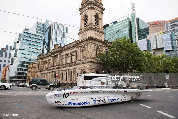 University Tokai Challenger vehicle 'Tokai' from Japan passes the Adelaide Town Hall on Day 5 of the 2017 Bridgestone World Solar Challenge at...