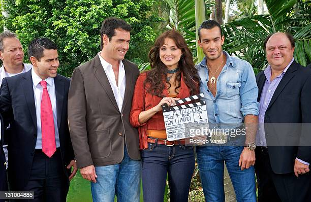 Univision president Cesar Conde Rafael Novoa Blanca Soto and Aaron Diaz at the kickoff of Univision's Talisman Productions on October 31 2011 in...