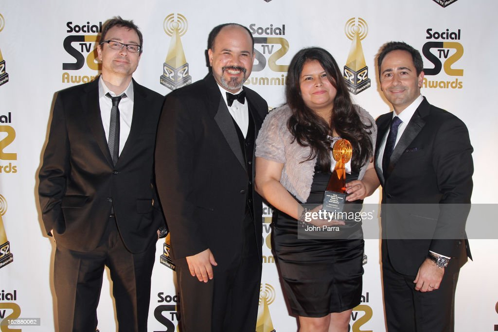 Univision's Luciano Ibias, Angel Aponte, Carolina Valencia and David Beck attend the 2013 Latin Social TV Awards at Fontainebleau Miami Beach on February 28, 2013 in Miami Beach, Florida.