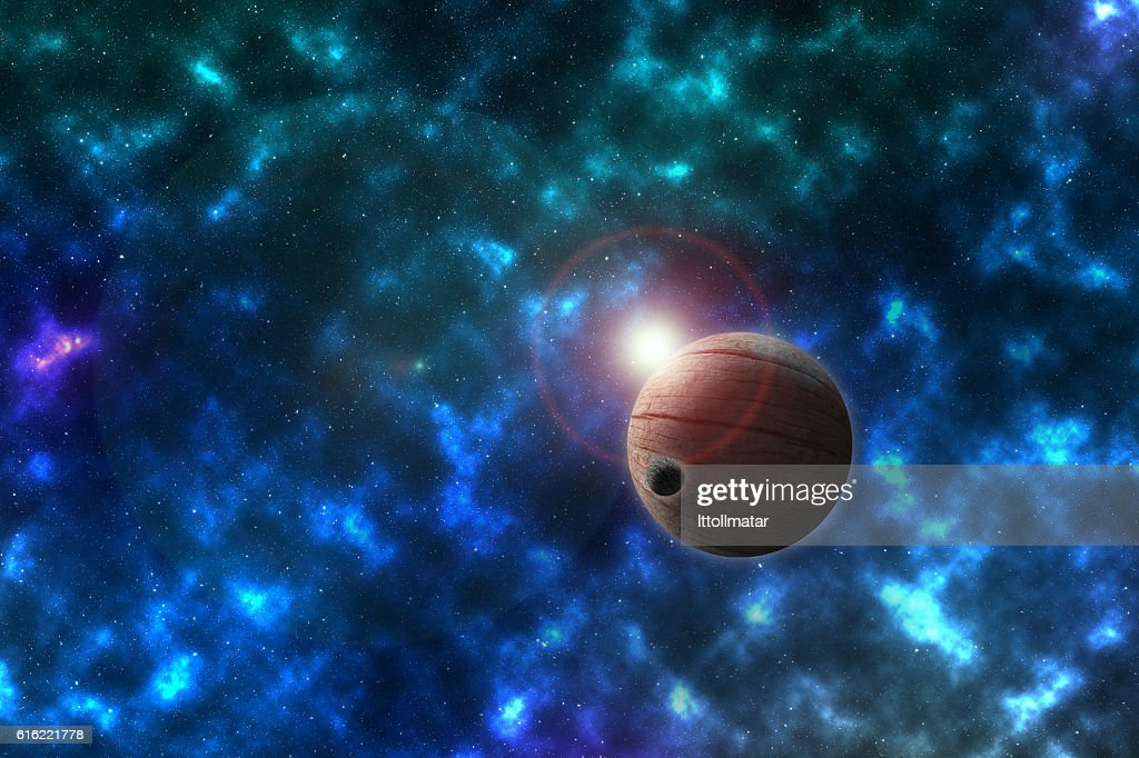 unknowed imaginary planet in a beautiful space, furnished by NASA : Stock-Foto