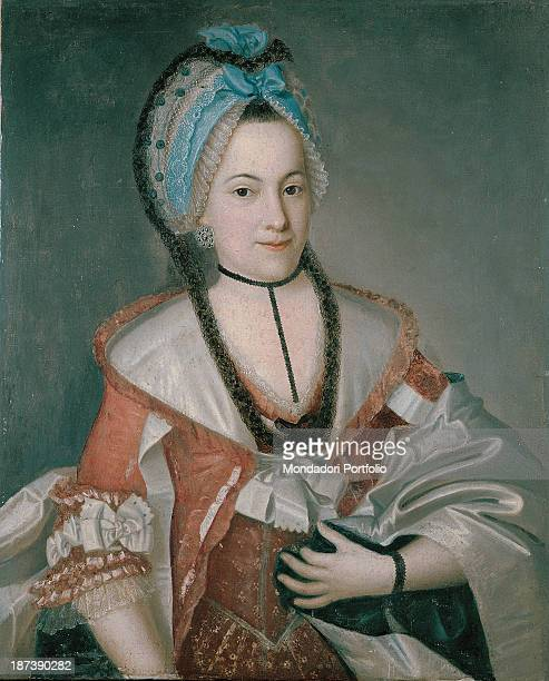 Unknown All Female portrait representing a noblewoman who wears a red and whitecoloured dress composed by camisole and wide sleeves At her neck is a...