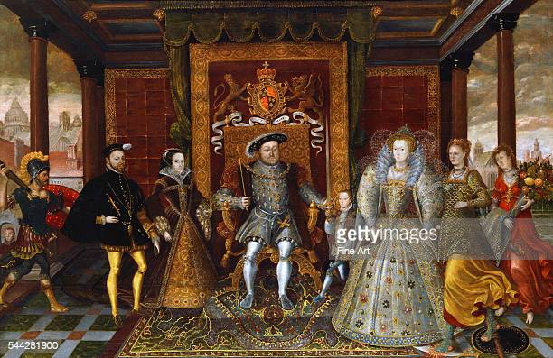 Unknown An Allegory of the Tudor Succession The Family of Henry VIII c 1590 oil on panel 1143 x 1822 cm Yale Center for British Art New Haven...