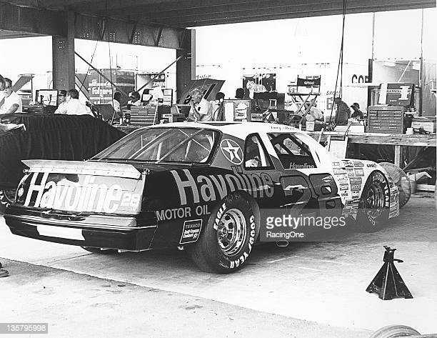 Davey Allison's Havoline Ford Thunderbird sits in the garage area at a NASCAR Cup race Allison began his fulltime Cup career in the No 28 driving for...