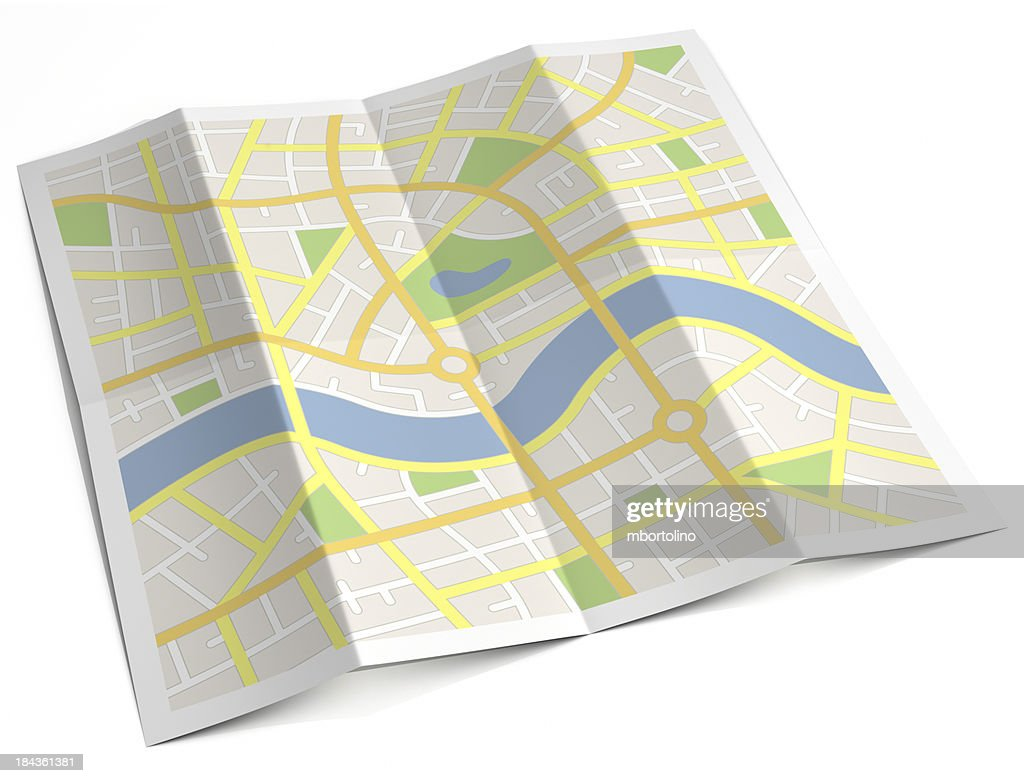 Unlabelled paper street map : Stock Photo
