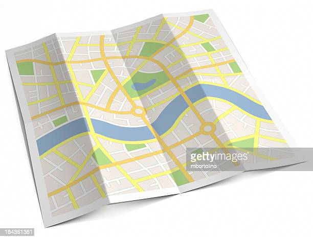 Unlabelled paper street map