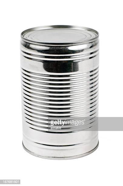 Unlabelled tin can on a white background