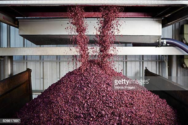 Unloading grape skin