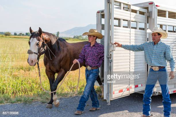 Unloading Horses From a Trailer