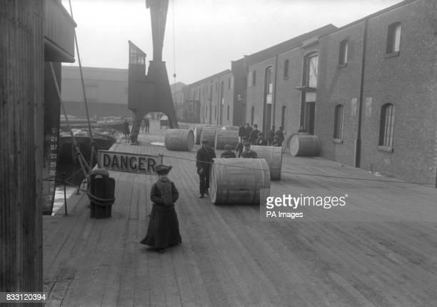 Unloading tobacco at the Royal Victoria Docks