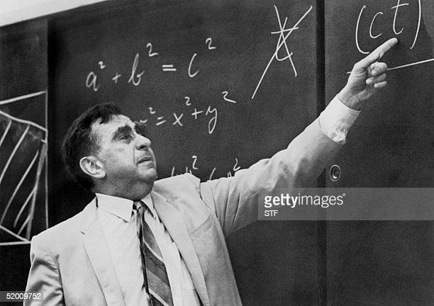 Unlocated picture dated 22 May 1968 of US physicist' father of the hygrogen bomb' Edward Teller pointing at a formula on a blackboard Edward Teller...