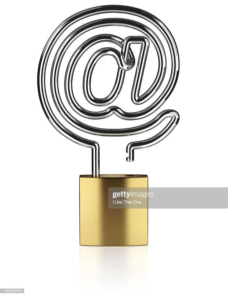 Unlocked padlock with an '@' symbol : Stock Photo