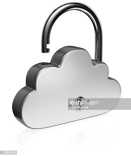 Unlocked steel cloud shaped padlock