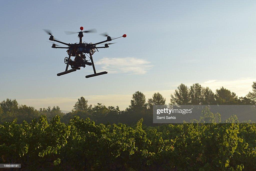 Unmanned Aerial Vehicle (UAV) filming vineyards