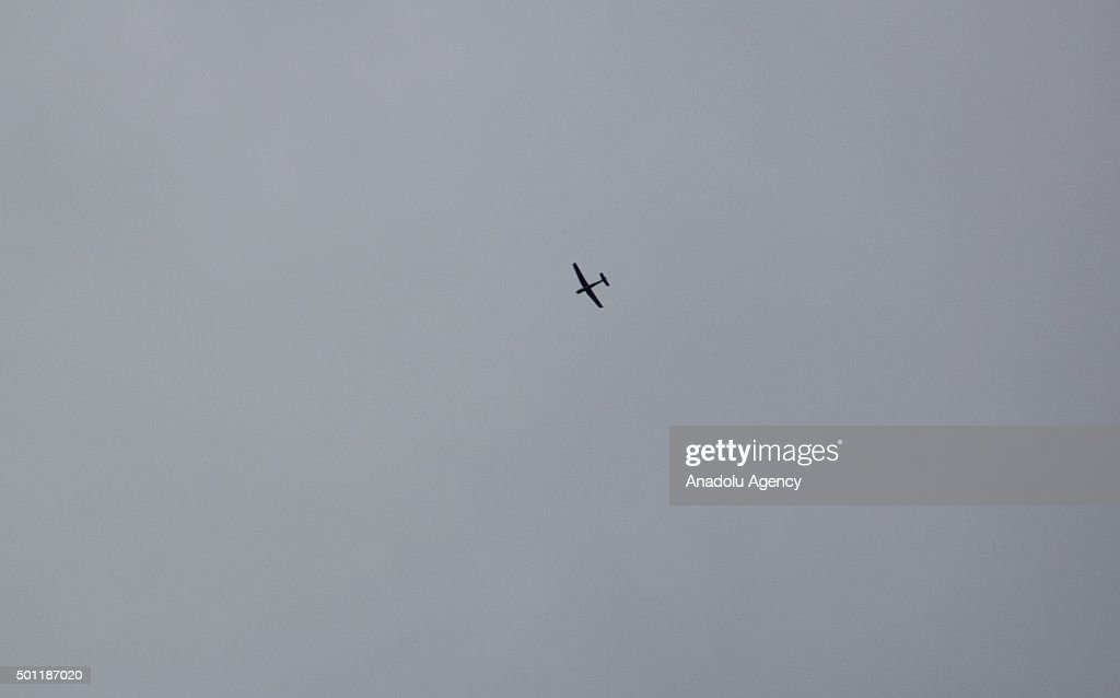 Unmanned air vehicle is seen on the sky as war crafts belonging to the Russian Army carry out airstrikes on oppositioncontrolled Douma Zemelka Cobar...