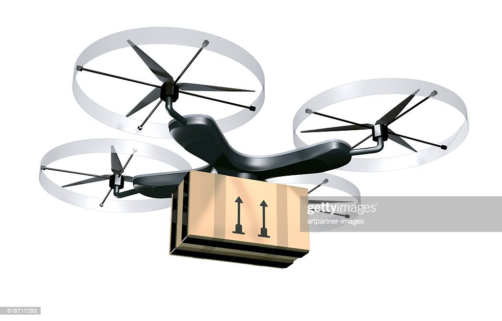 Unmanned drone for parcel delivery purposes