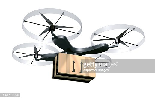 Unmanned drone for parcel delivery purposes : Stock Photo