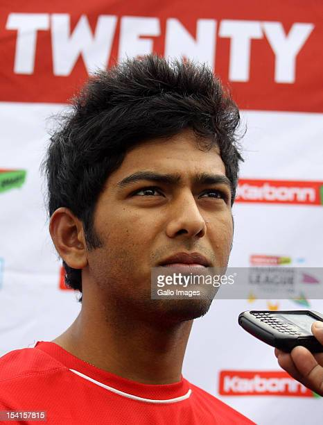Unmukt Chand of Delhi Daredevils attends a training session during the Champions League Twenty20 at Sahara Park Kingsmead on October 15 2012 in...