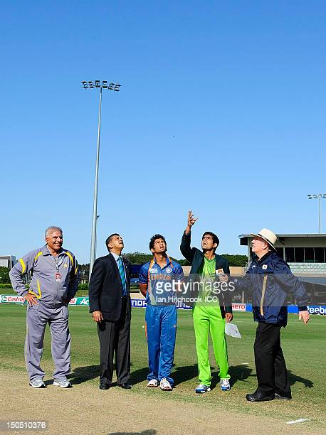 Unmukt Chand of India and Muhammad Babar Azam of Pakistan toss the coin before the start of play during the ICC U19 Cricket World Cup 2012 Quarter...