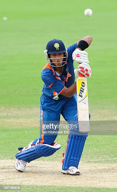Unmukt Chand of India bats during the 2012 ICC U19 Cricket World Cup Final between Australia and India at Tony Ireland Stadium on August 26 2012 in...