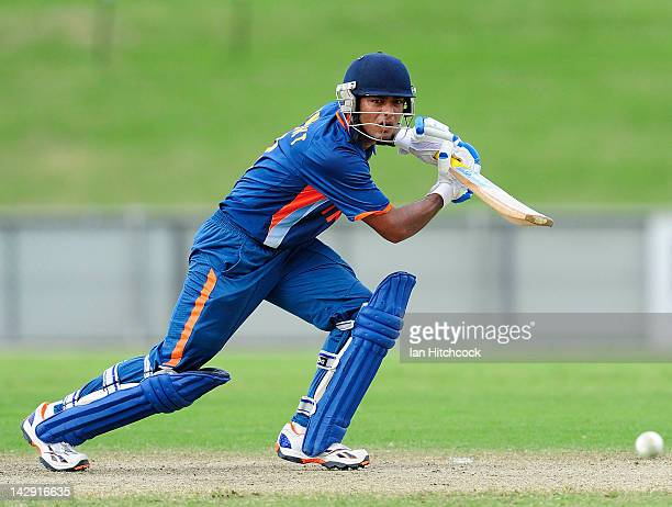 Unmukt Chand of India bats during the match between Australia and India on day five of the U19 International Quad Series at Tony Ireland Stadium on...
