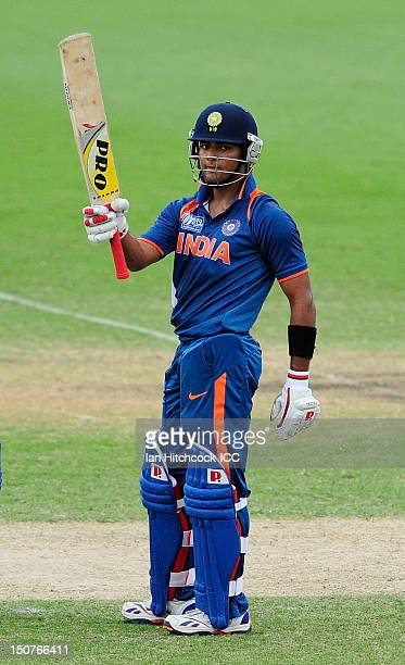 Unmukt Chand of India celebrates scoring a century during the 2012 ICC U19 Cricket World Cup Final between Australia and India at Tony Ireland...