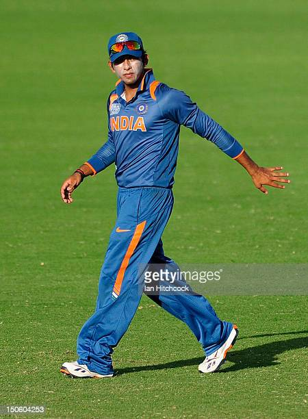 Unmukt Chand of India motions to his players during the ICC U19 Cricket World Cup 2012 Semi Final match between India and New Zealand at Tony Ireland...