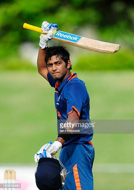 Unmukt Chand of India waves to the crowd after scoring century during the match between Australia and India on day five of the U19 International Quad...