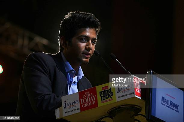 Unmukt Chand under 19 Indian Cricket Team captain speaks during the India Today Mind Rocks Youth Summit 2012 in New Delhi on Friday