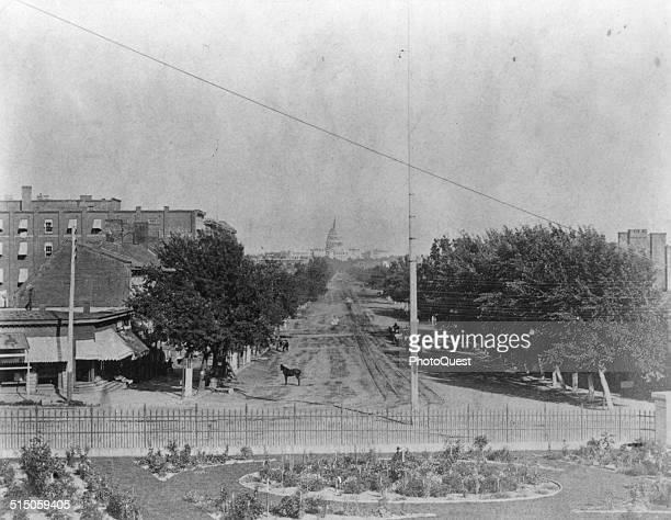 Unpaved Pennsylvania Avenue looking toward the Capitol Washington DC 1865
