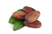unpeeled cocoa bean with leaf isolated on white background.