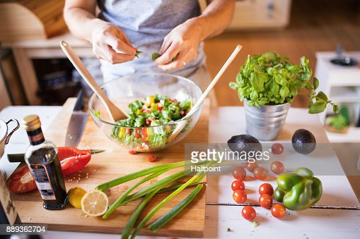 Unrecognizable man cooking. : Stock Photo