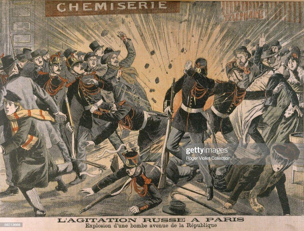Unrest of Russian anarchists and nihilists in Paris Explosion of a bomb avenue de la Republique Engraving 'Le Petit Journal' Febuary 1905