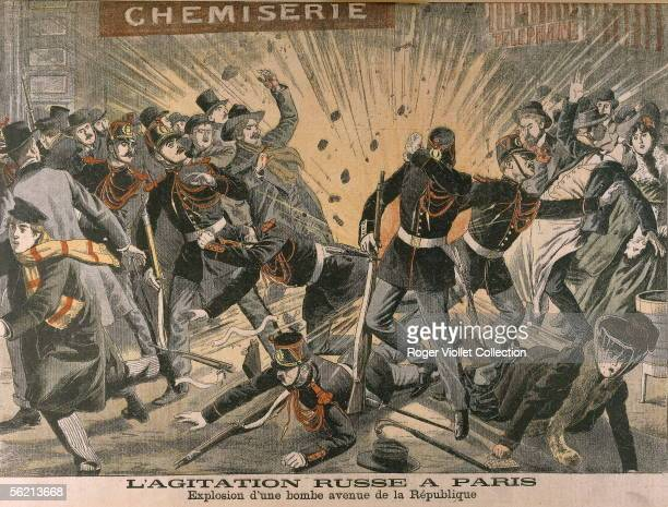 Unrest of Russian anarchists and nihilists in Paris Explosion of a bomb avenue de la Republique Engraving 'Le Petit Journal' Febuary 1905