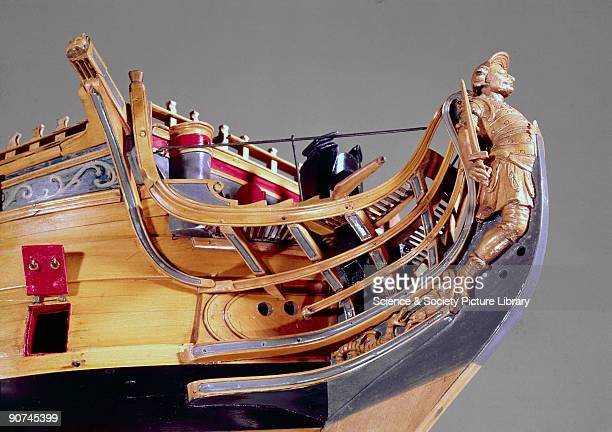 Unrigged model of a typical 60 gun ship During the reign of Charles II menofwar other than First Rates used the crowned lion as a figurehead In 1727...