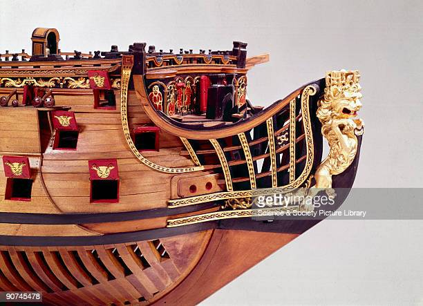 Unrigged model This ship was built according to the 1706 Establishment An Admiralty order of 1703 severely restricted the profuse carved and gilded...